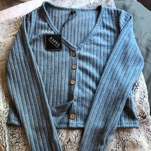 ribbed crew neck sweater from Zaful